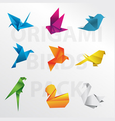 origami birds pack vector image