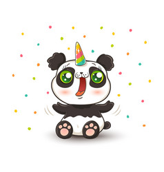 Panda with unicorn horn vector