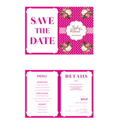 Pinky wedding invitation template vector