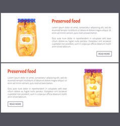 Preserved food banners fruit jam or compote set vector