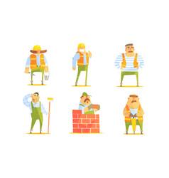 repairman cartoon characters set cheerful vector image