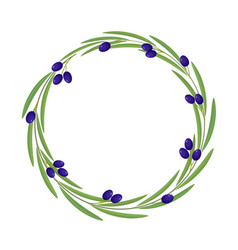 Round frame branch of olive vector