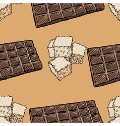 seamless background with chocolate and sugar vector image