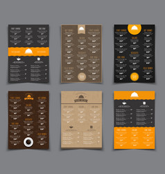 Set a4 menu for restaurants and cafes templates vector