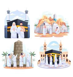 Set bundle muslim couple is doing islamic hajj vector