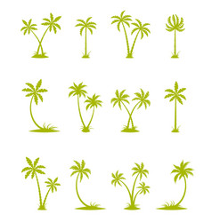 Set silhouettes palm trees vector
