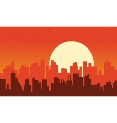 Silhouette of urban scenery at afternoon vector