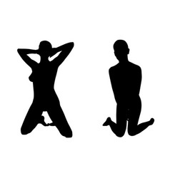 silhouettes of women on knees vector image