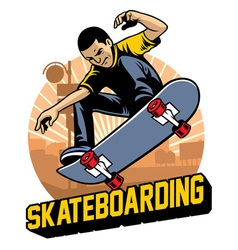Skater do the skateboard jumping trick vector