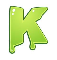 Slimy font type letter k vector