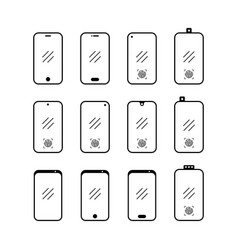 Smartphone set icon on white background flat vector