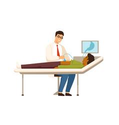 Smiling gastroenterologist making abdominal vector