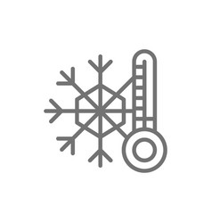 snowflake with a thermometer low temperature vector image