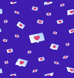 social media likes and hearts flying down seamless vector image