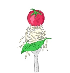 Spaghetti with cherry tomato and Basil leaf on a vector