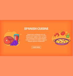 Spanish cuisine banner horizontal cartoon style vector