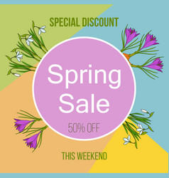 spring sale poster with color flowers vector image