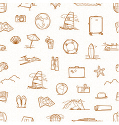 summer travel doodle style elements seamless vector image