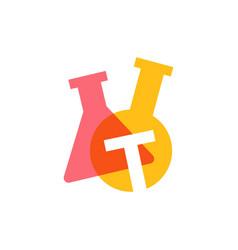 T letter lab laboratory glassware beaker logo icon vector