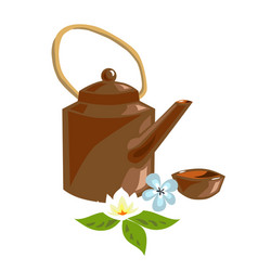 Teapot of herbal tea for spa design jasmine vector