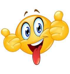thumbs up emoticon with tongue out vector image