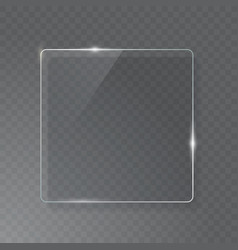 Transparent glass plate mock up see through vector