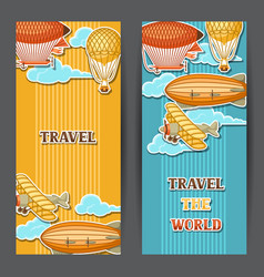 Travel banners with retro air transport vintage vector