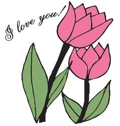 Tulips Love vector
