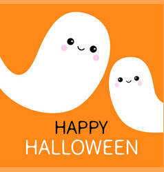 Two flying ghost spirit set happy halloween scary vector