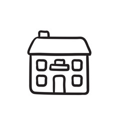 Two storey detached house sketch icon vector