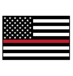 Usa firefighter red line flag vector