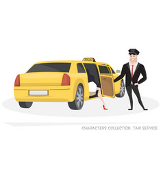 vip taxi with driver and passenger in cartoon vector image