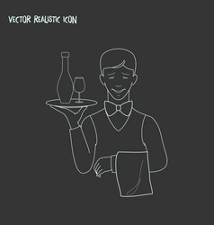 waiter icon line element of vector image