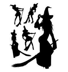 witch silhouette 03 vector image