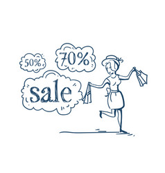woman with purchases shopping sale concept vector image