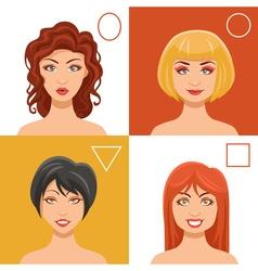 Women Faces Set vector image