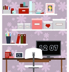Workplace of girl with the desk chair books vector