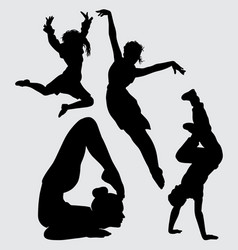 Yoga and dancing silhouette vector