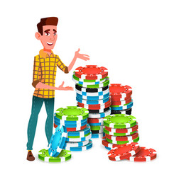 Young gambler with huge stack of poker chips vector