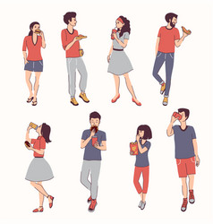 Young people eating fast food including burgers vector