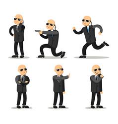 cartoon professional safeguard man security guard vector image