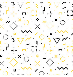 memphis seamless pattern with geometric shapes vector image vector image