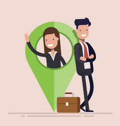 Businessman or manager man and woman with map vector