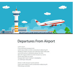poster airplane takes off from the airport vector image vector image