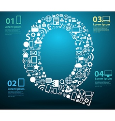 Application icons alphabet letters Q design vector image vector image