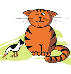 Funny cat and bird vector