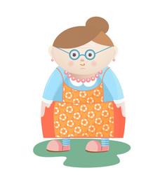 funny grandmother with glasses with pearl beads vector image vector image