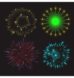 Set of festive fireworks vector image