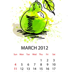 calendar for 2012 with fruit march vector image vector image