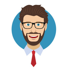 man character face avatar in glasses vector image